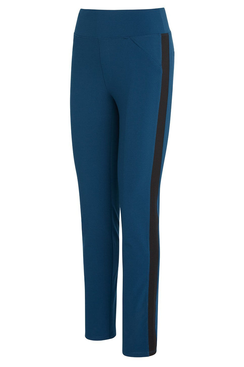 A ladies technical stretch tuxedo pant for long legs in azure with a black side stripe on a white background.