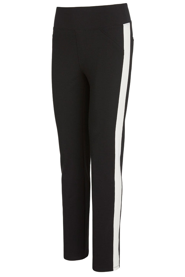 A ladies technical stretch tuxedo pant for long legs in black with an ivory side stripe on a white background.