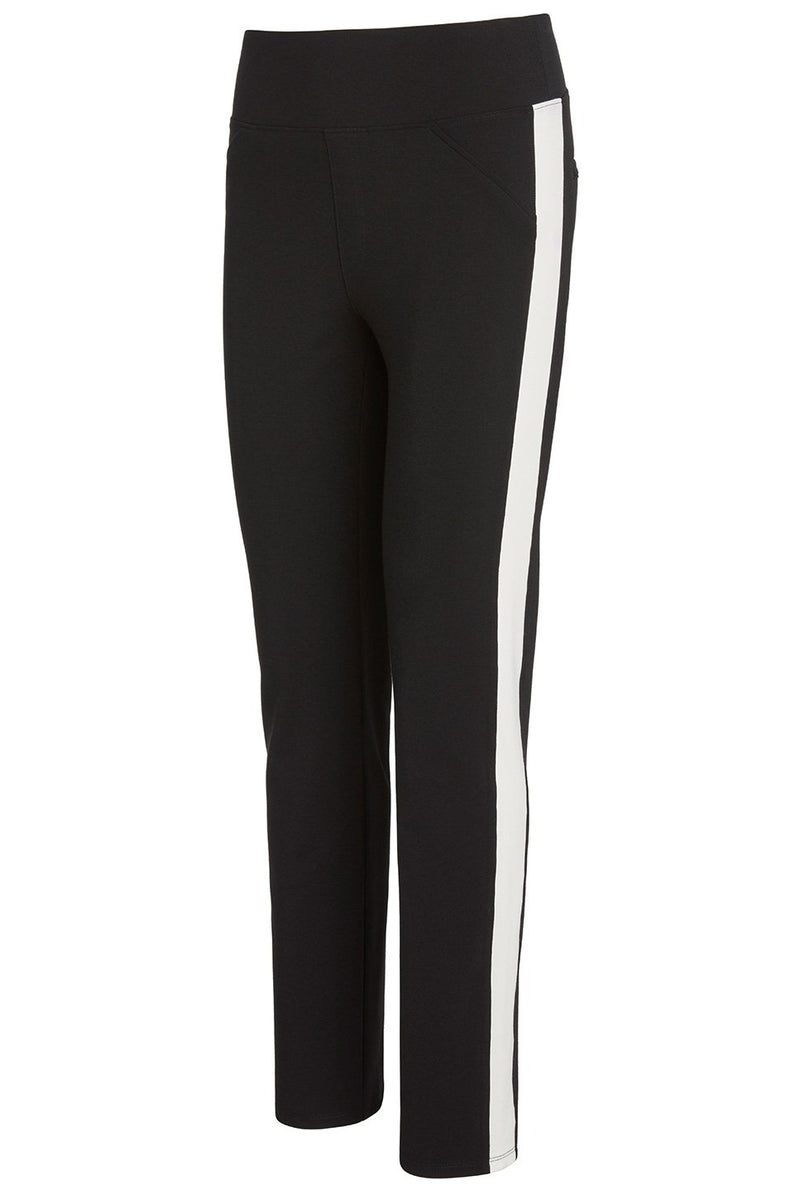 ecc331db7ae A ladies technical stretch tuxedo pant for long legs in black with an ivory side  stripe