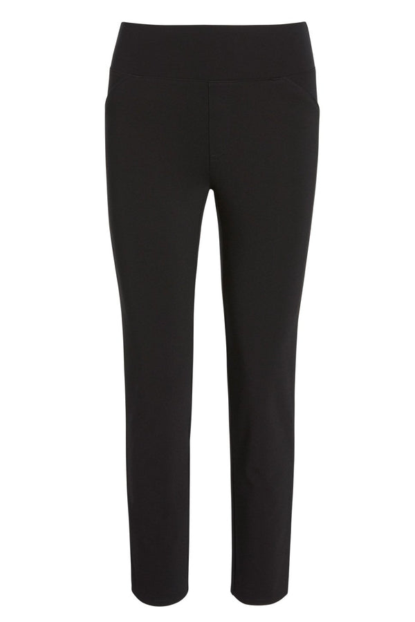 A ladies technical stretch skinny pant in black on a white background.
