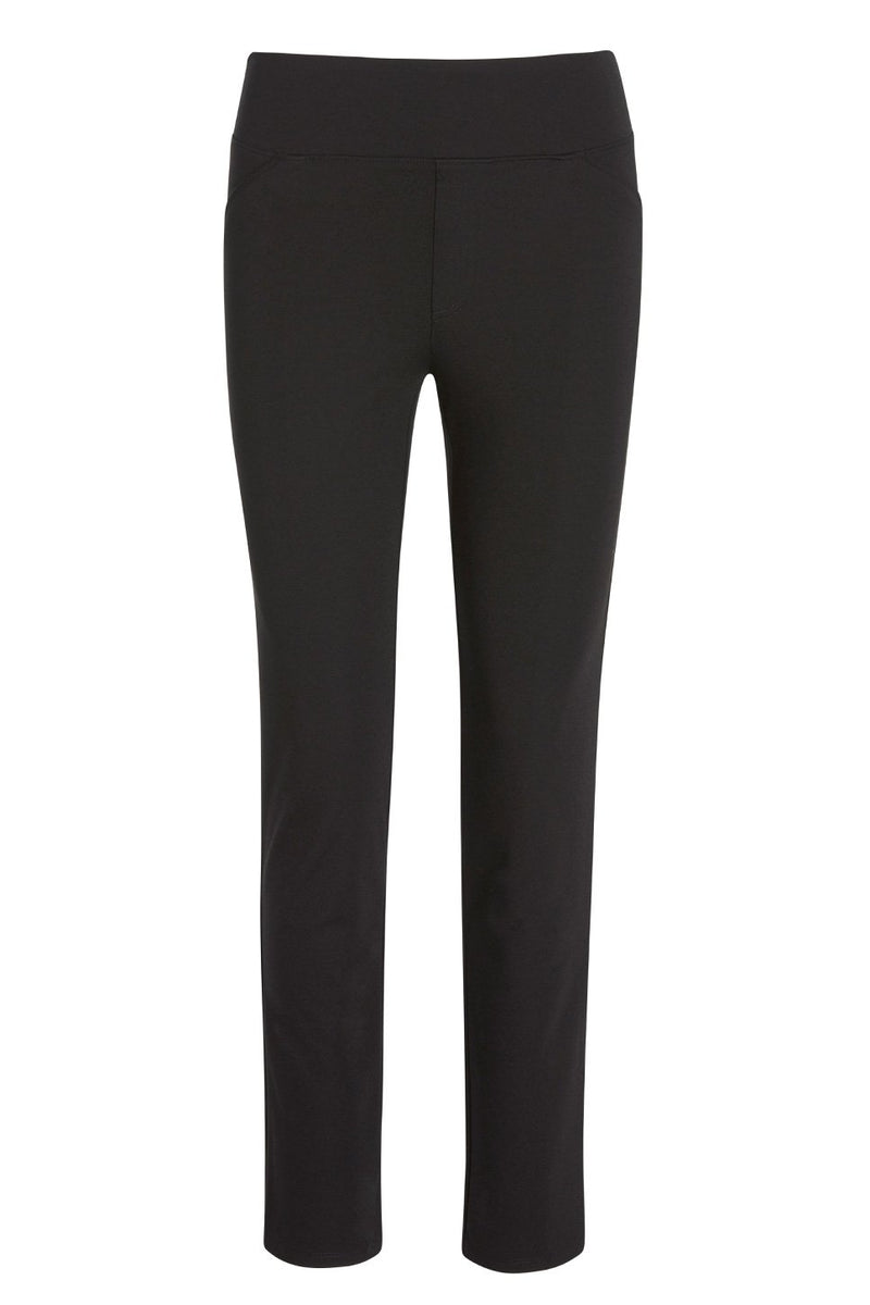A ladies technical stretch skinny pant for long legs in black on a white background.