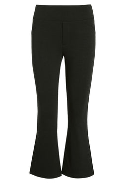 A ladies flared and cropped technical stretch pant in black on a white background.