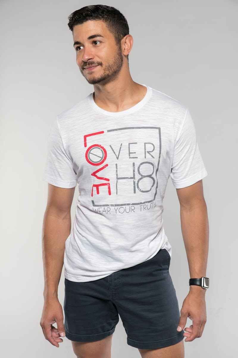 Love Over H8 Boyfriend Fit White T-Shirt created by Cheryl Najafi