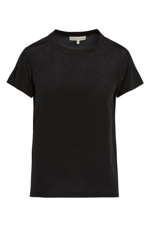 A ladies silk, short-sleeve tee in black on a white background.