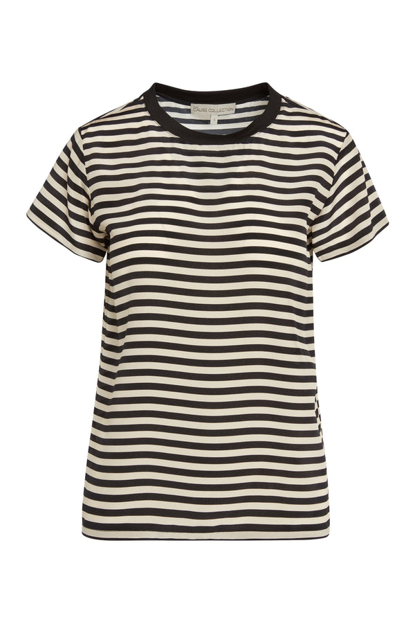 A ladies silk, short-sleeve tee in stripes on a white background.