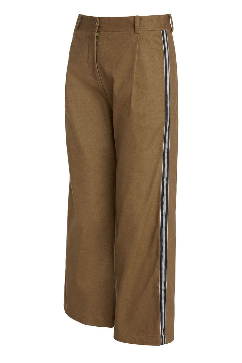 A ladies flared and cropped cotton pant in army with side stripe and back pocket ribbon detailing.