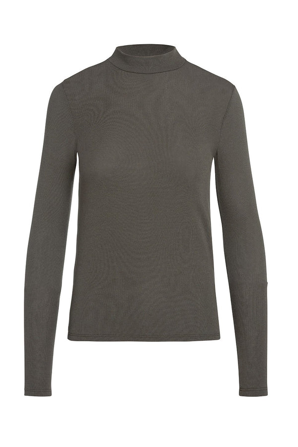 A ladies mock neck knit top in army on a white background.