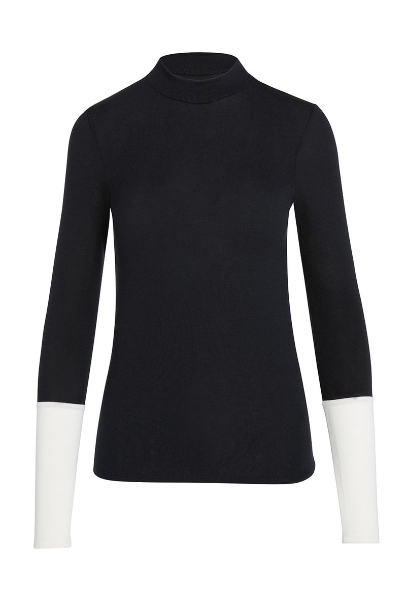 A ladies mock neck knit top in black on a white background.