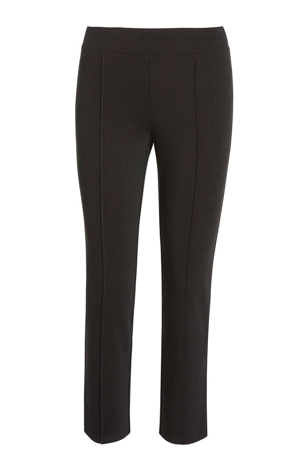 A ladies stretch ponte flare crop pant in black on a white background.