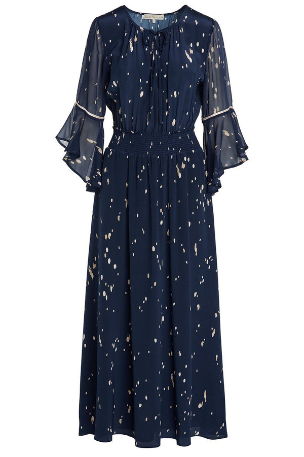 A ladies midi dress in dust-navy on a white background.