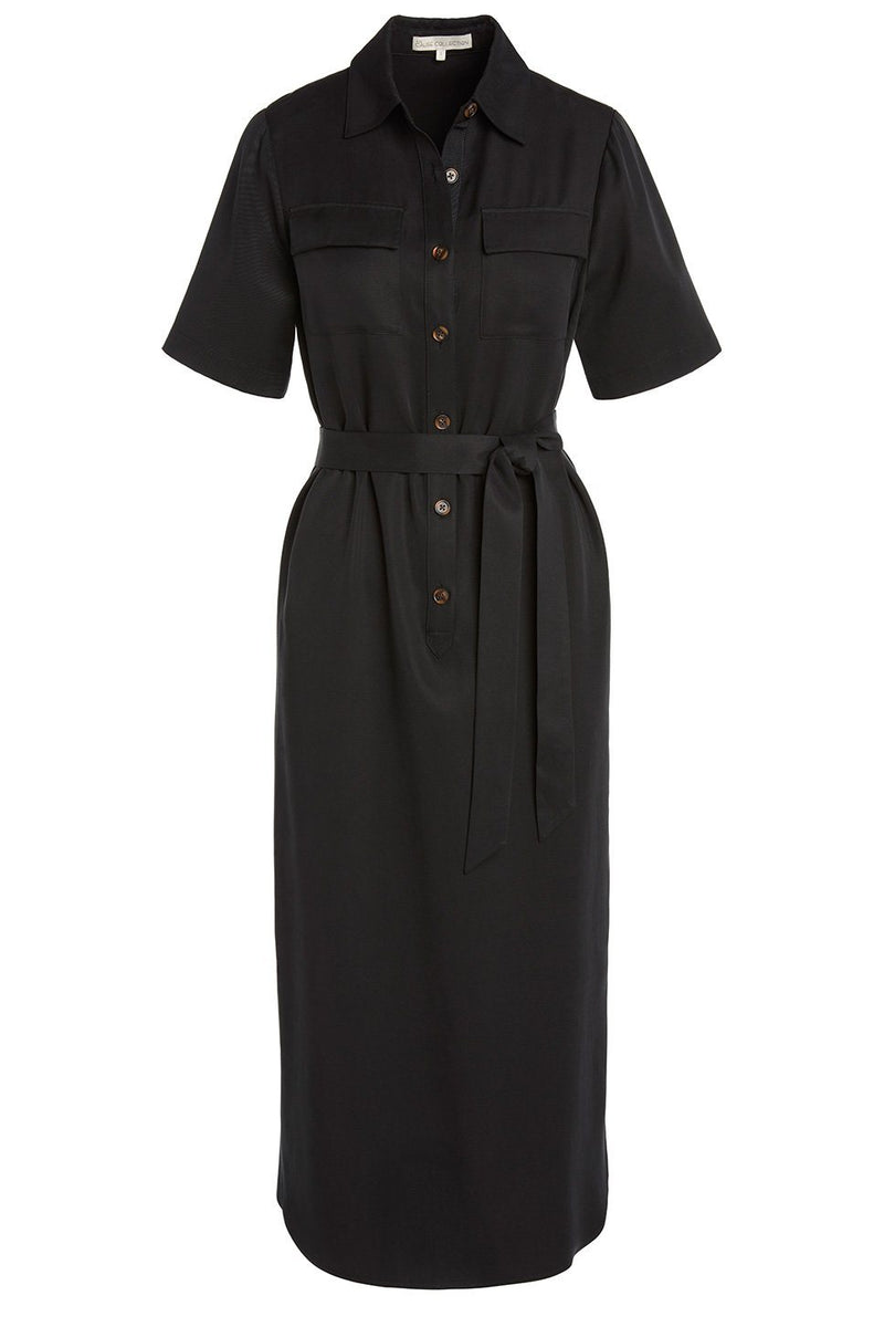 A ladies utility tie waist shirt dress in black on a white background.
