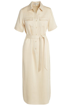 a06e7cee3fa0f A ladies utility tie waist shirt dress in latte on a white background.