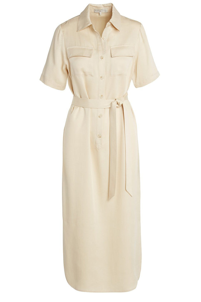 A ladies utility tie waist shirt dress in latte on a white background.