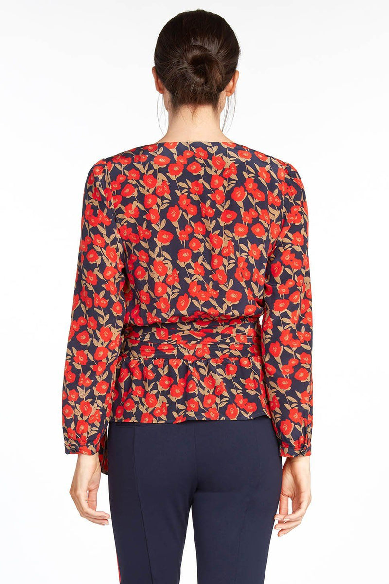 Fleur Long Sleeve Wrap Top with Pleats