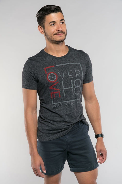 Love Over H8 Girlfriend Fit Dark Gray T-Shirt created by Cheryl Najafi