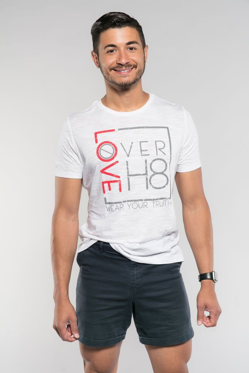 Love Over H8 Girlfriend Fit White T-Shirt created by Cheryl Najafi