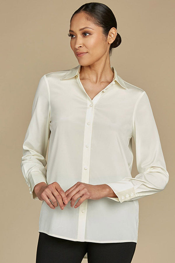 Glenn Button Down Stretch Silk Blouse
