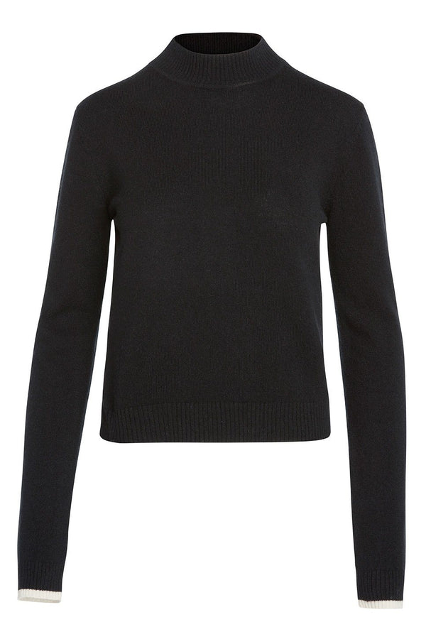 A ladies mock neck 100% cashmere sweater in black on a white background.