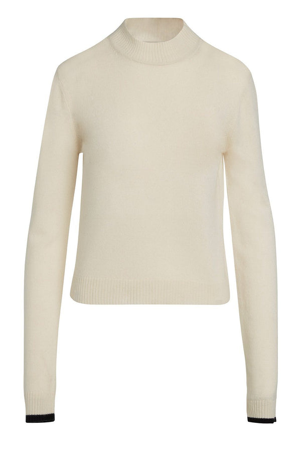 A ladies mock neck 100% cashmere sweater in ivory on a white background.