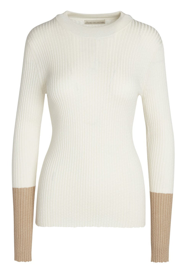 'Hyde' rib knit sweater in White/Tan by The Cause Collection.