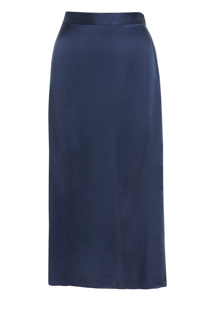 A ladies flared midi slip skirt in navy on a white background.