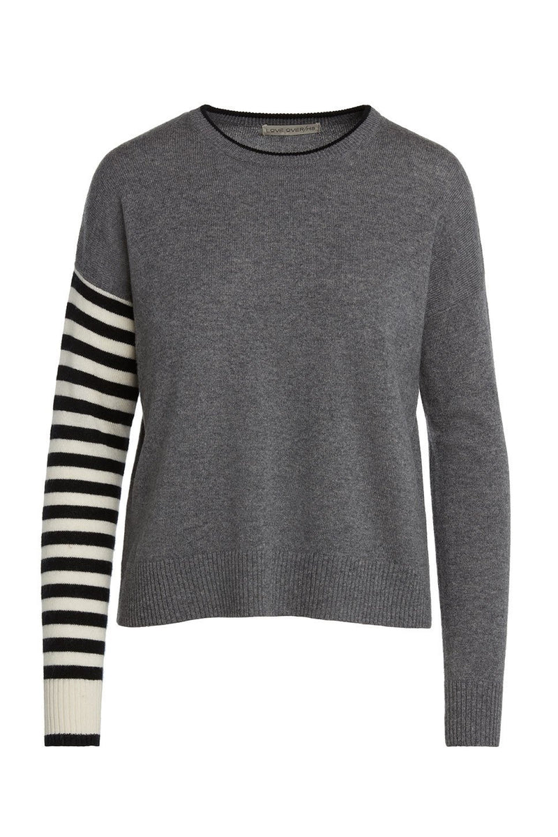 A ladies striped 100% cashmere crew neck sweater in grey on a white background.