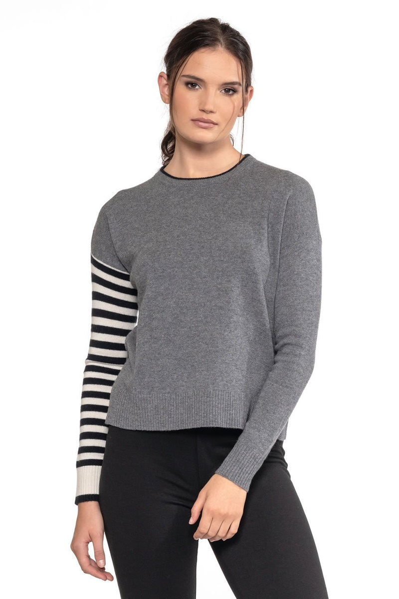 Mackenzie Striped Cashmere Crew Neck Sweater