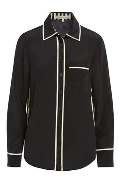 A ladies button-down 100% silk blouse in black on a white background.