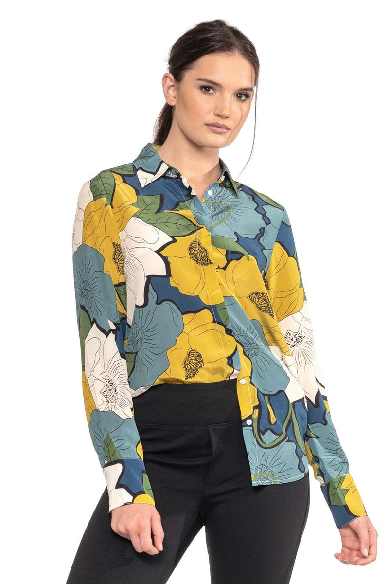 Mara Button-Down Silk Blouse