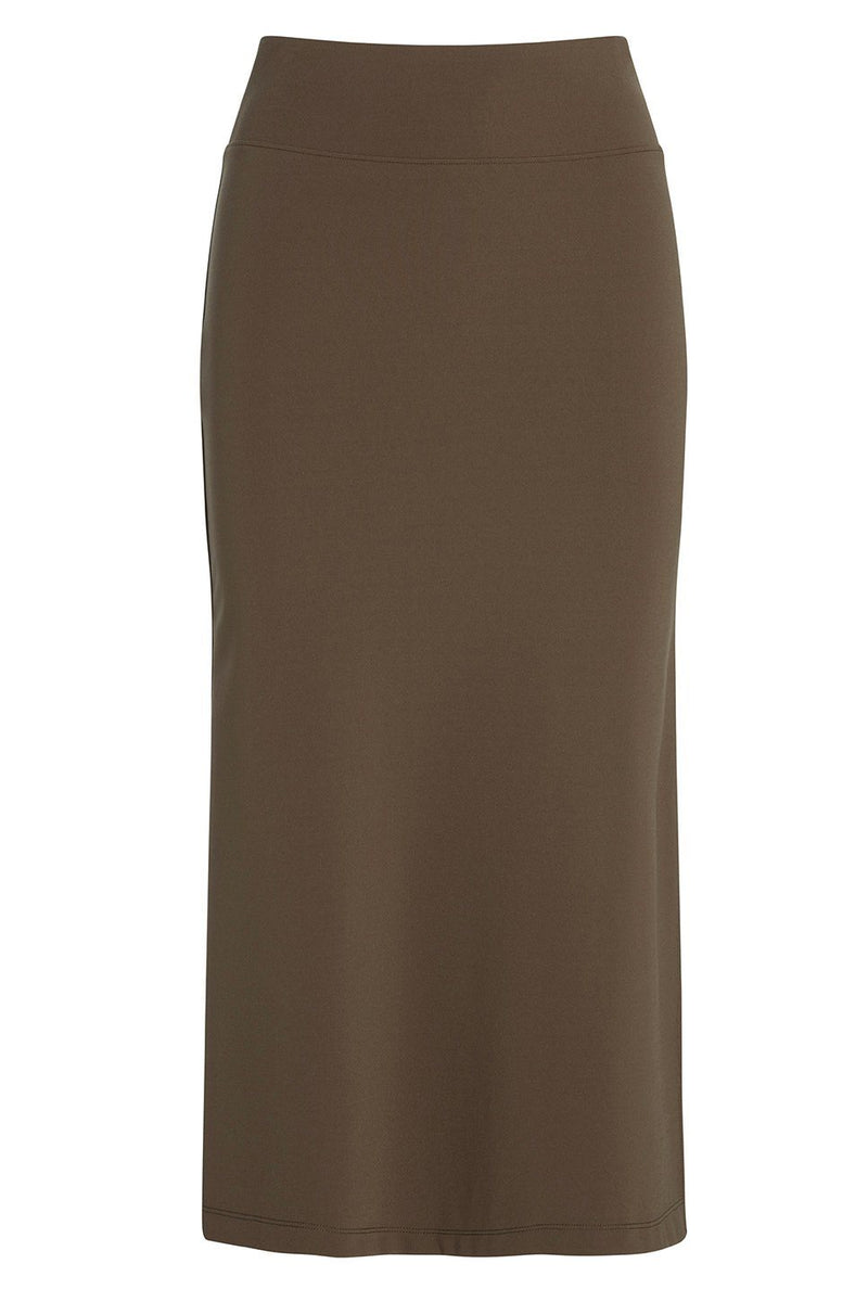 A ladies technical stretch pencil skirt with side slit in army on a white background.