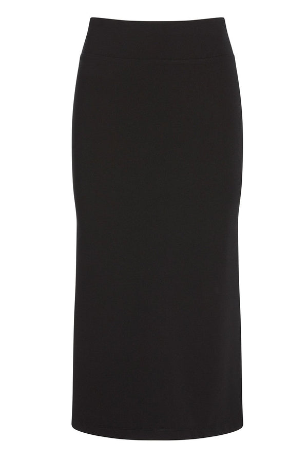 A ladies technical stretch pencil skirt with side slit in black on a white background.