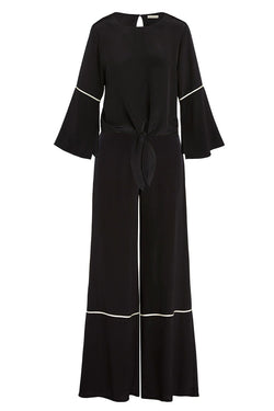 A ladies tie front blouse and fluid wide-leg pants in 100% black silk on a white background.