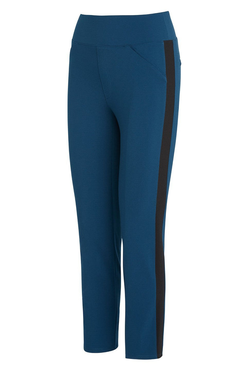 A ladies technical stretch tuxedo pant in azure with a black side stripe on a white background.