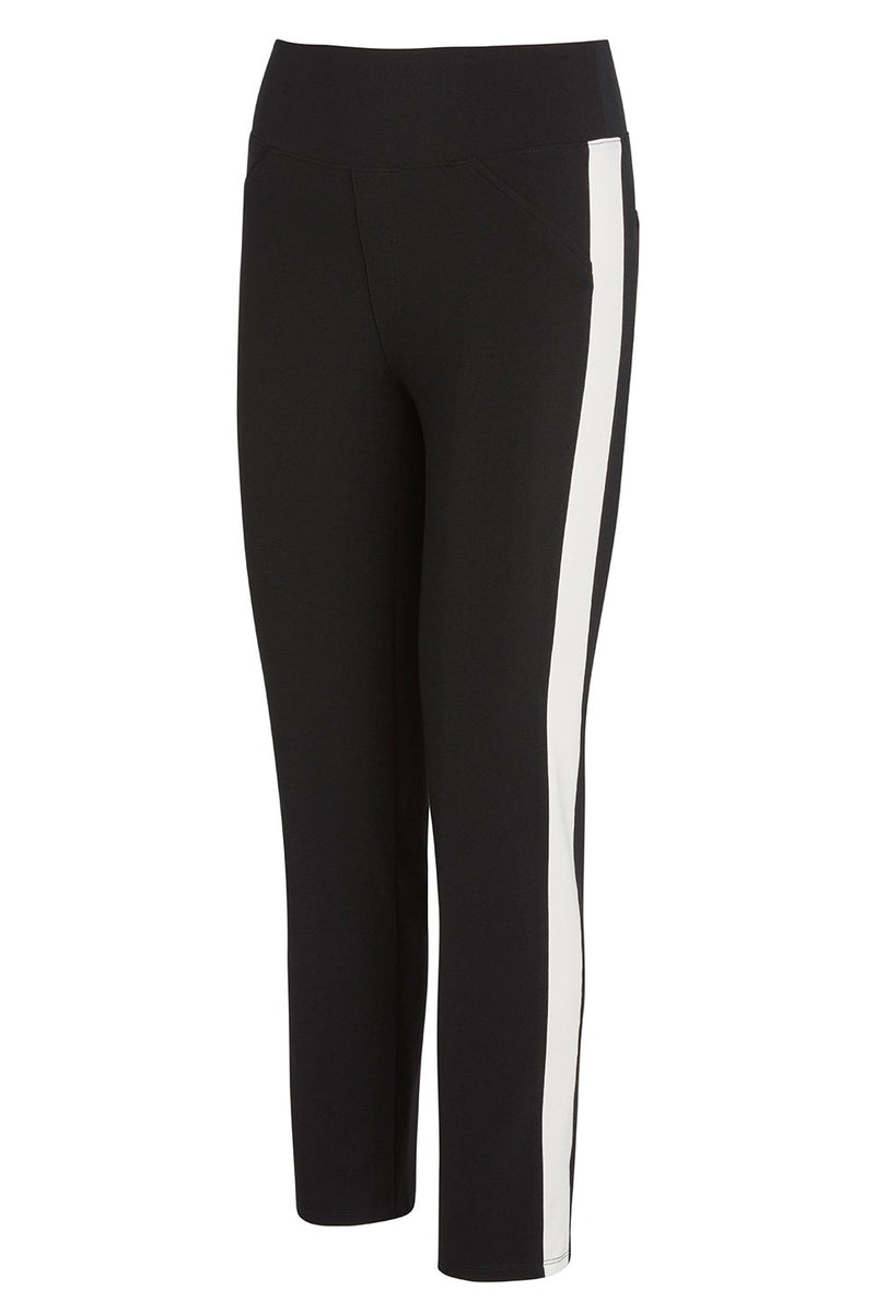 A ladies technical stretch tuxedo pant in black with an ivory side stripe on a white background.
