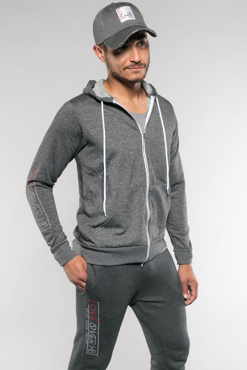 Love Over H8 Boyfriend Fit Digital Gray Hoodie created by Cheryl Najafi