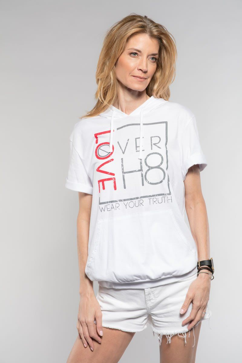 Love Over H8 Unisexy White Short Sleeve Hoodie created by Cheryl Najafi