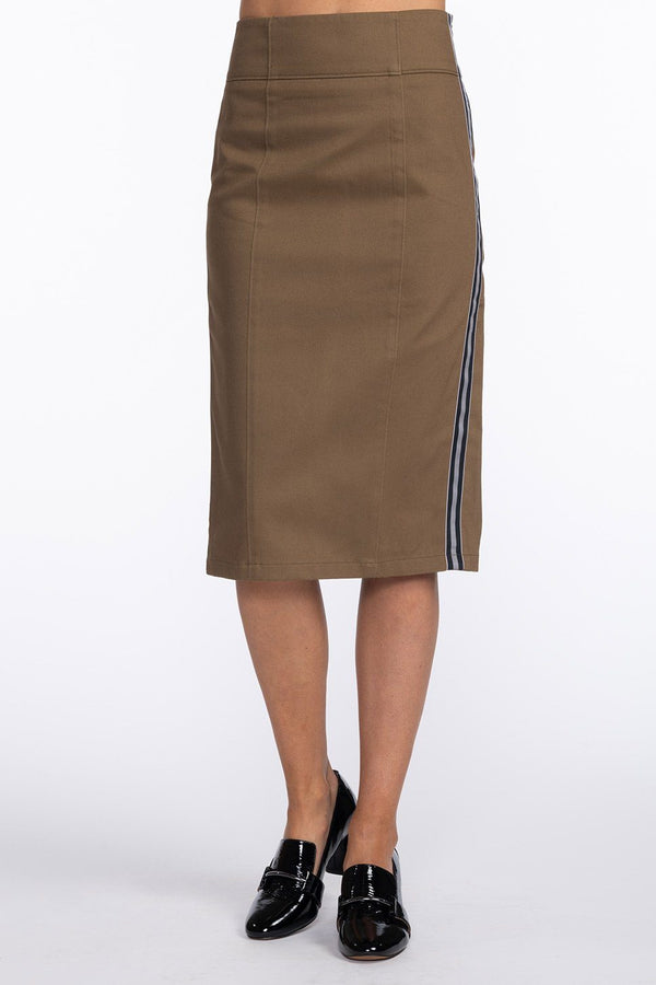 One model wearing a ladies stretch twill pencil skirt in army with side stripe on a white background.