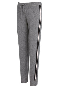 A ladies cashmere track pant in grey on a white background.