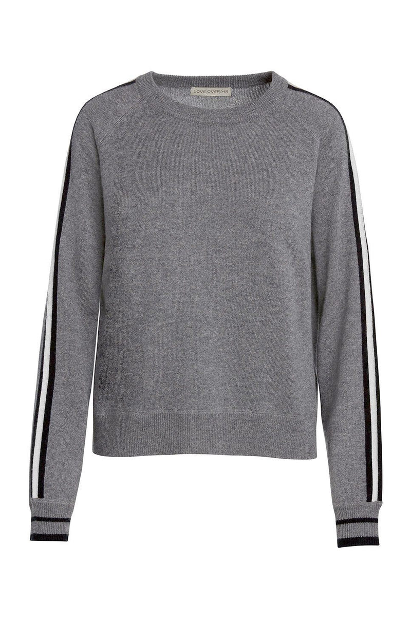 A ladies 100% cashmere raglan sweater in grey on a white background.
