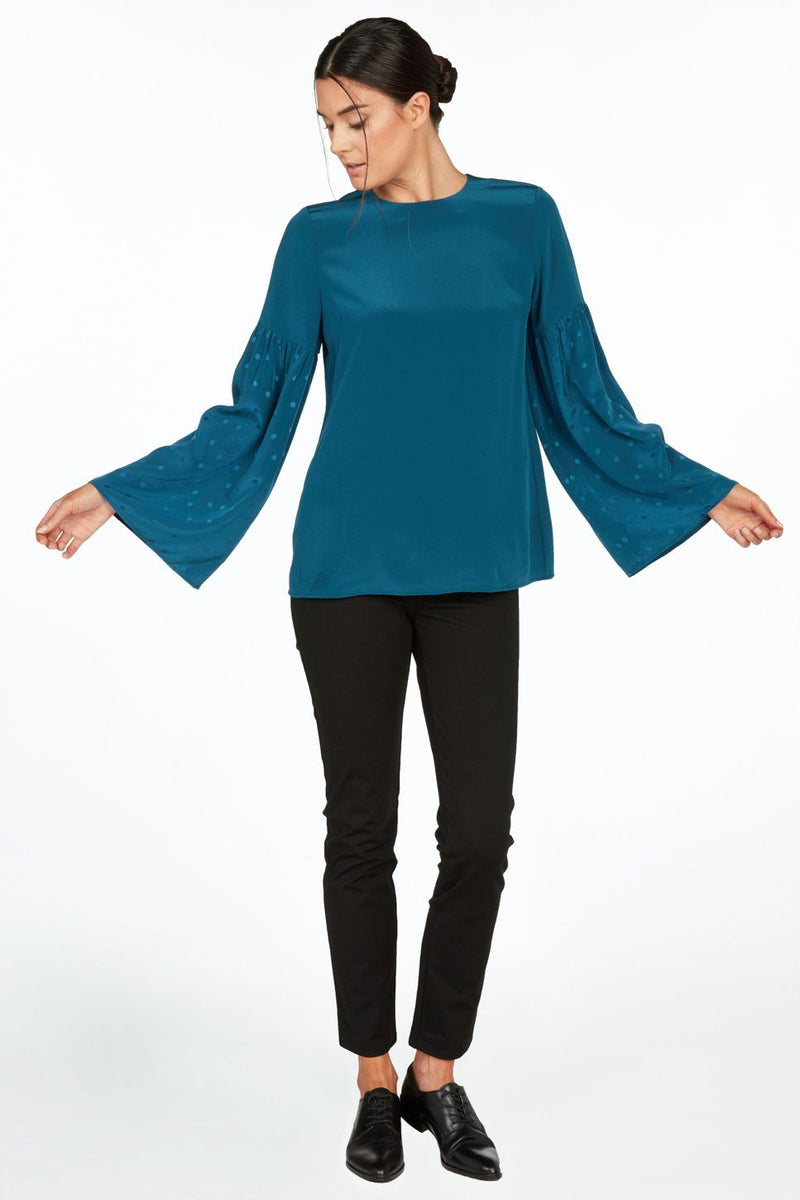 Zinnia Boxy Top with Shirred Bell Sleeves