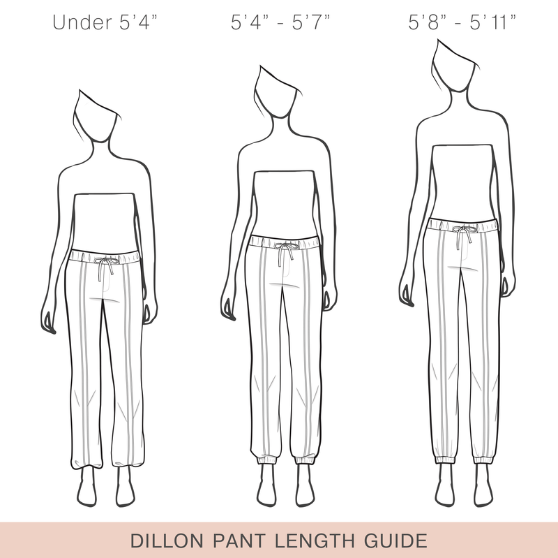 Dillon Dressy Track Pant (In Latte) Length Guide.