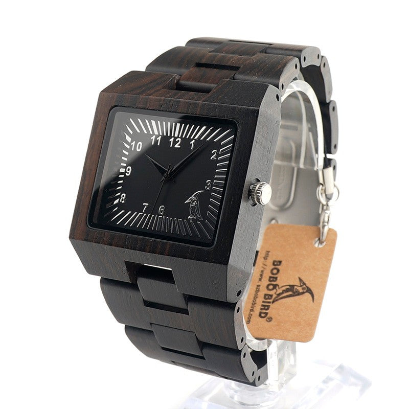 BOBOBIRD Natural Ebony Wooden Mens Watch
