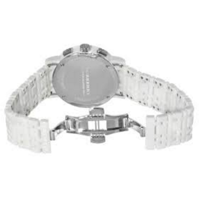 Burberry Chronograph White Dial White Ceramic Watch