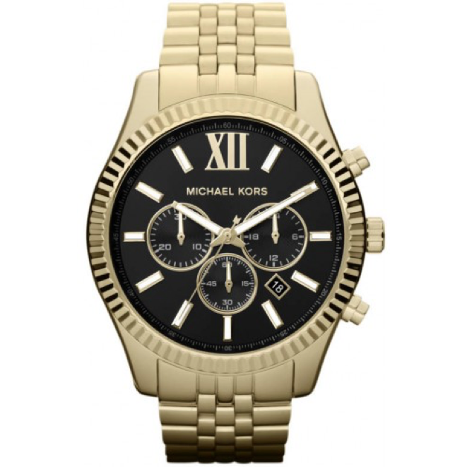 Michael Kors Lexington Chronograph Black Dial Gold-tone Men's Watch Item No. MK8286