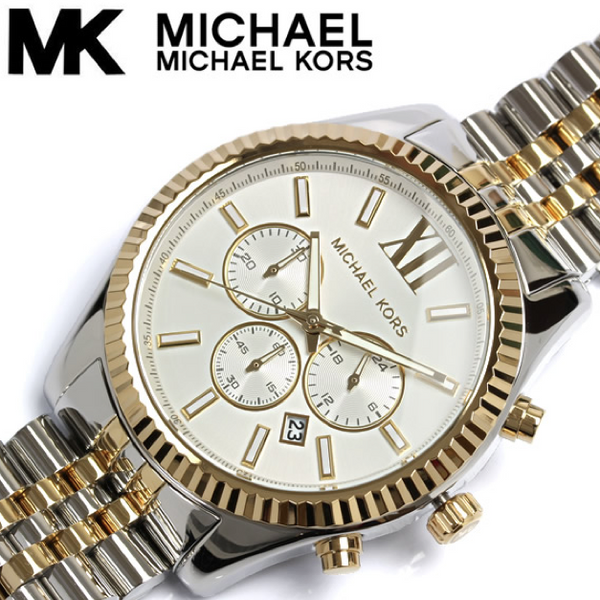 d9d0c01b1740 Michael Kors Lexington Chronograph White Dial Two-tone Men s Watch MK8 –  Wrist Taker Watches