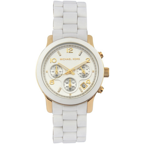 Michael Kors Runway Silver Dial White Polyurethane Ladies Watch MK5145