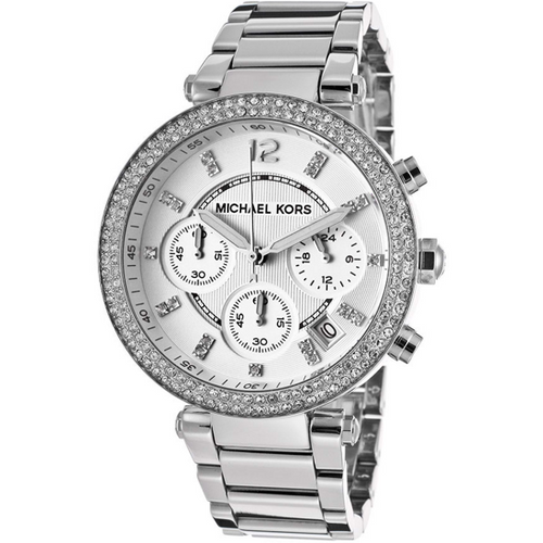 Michael Kors Parker Silver Dial Stainless Steel Chronograph Ladies Watch MK5353