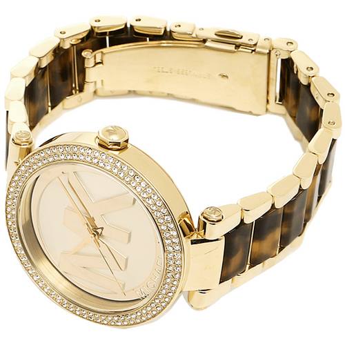 Michael Kors Parker Champagne Dial Gold-tone and Tortoise-shell Acetate Ladies Watch MK6109