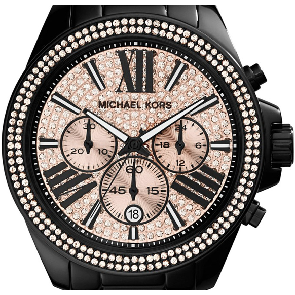 Michael Kors Everest Chronograph Rose Dial Black Ion-plated Ladies Watch MK5879