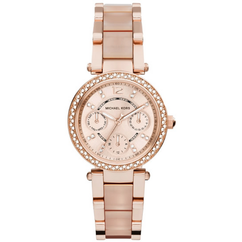 Michael Kors Kerry Black Mother of Pearl Dial Rose Gold-tone Stainless Steel Ladies Watch MK3397
